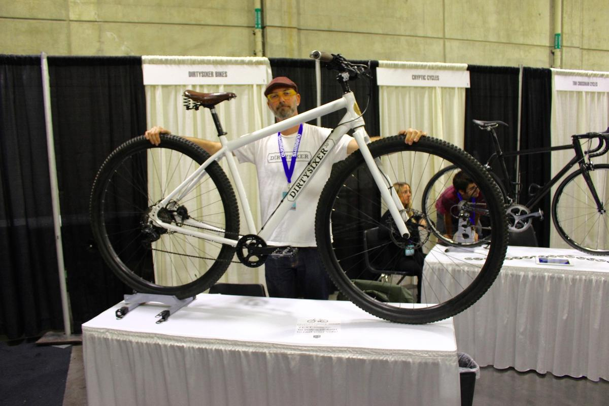David Folch with his own personal DirtySixer (it's a size Small!), at the North American Handmade Bicycle Show