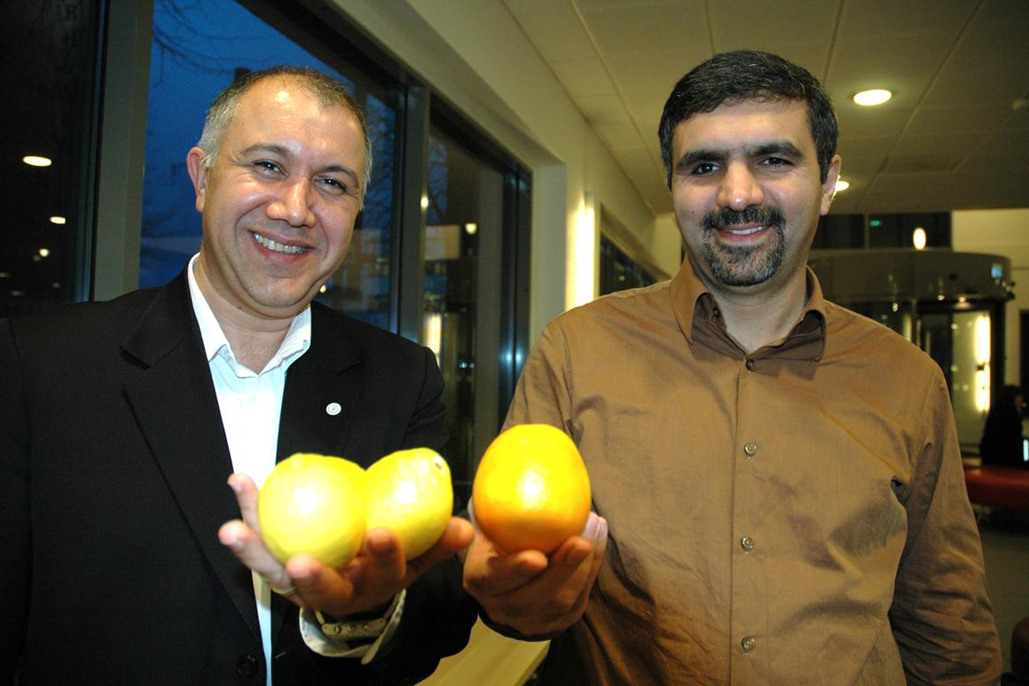 "Daniel Yar Hamidi CEO of Inicia, left, and professor Mohammad Taherzadeh with samples of their ""green"" product."
