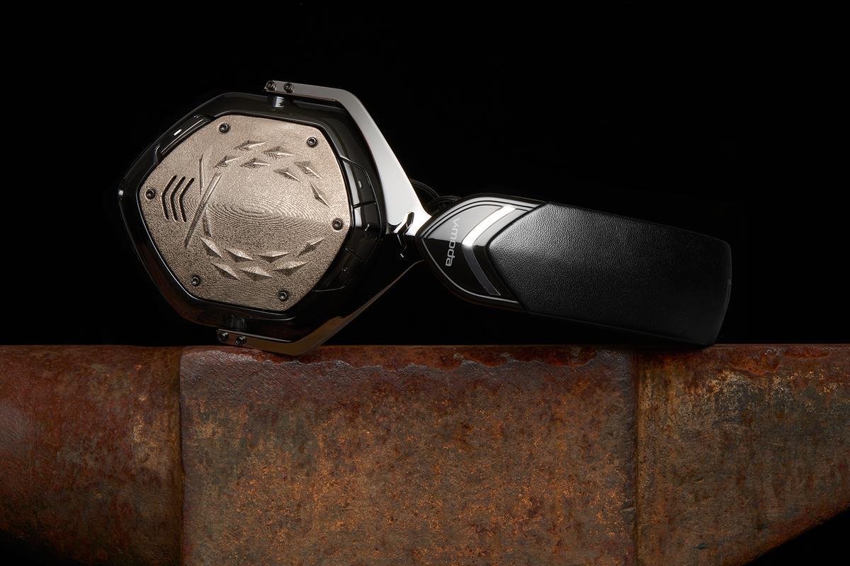 V-Moda's Crossfade Wireless headphones in phantom chrome, with 3D-printed shields
