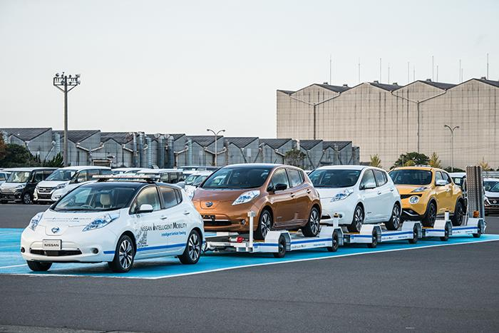 Nissan is using a self-driving Leaf to tow completed cars around its Oppama plant