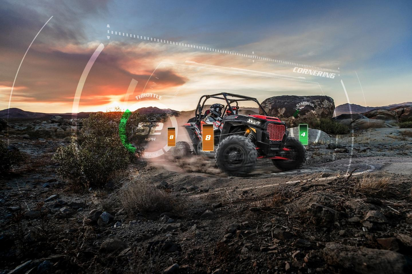 The Dynamix Active Suspension system monitors multiple inputs, including steering wheel and pedal position, and makes adjustments at each individual shock