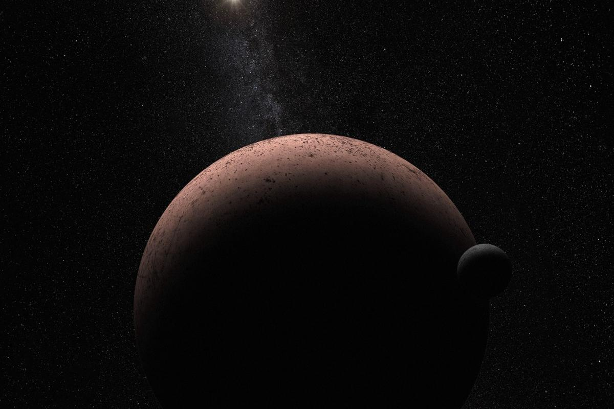 Artist's impression of the newly-discovered moon S/2015 (136472) 1 orbiting the dwarf planet Makemake