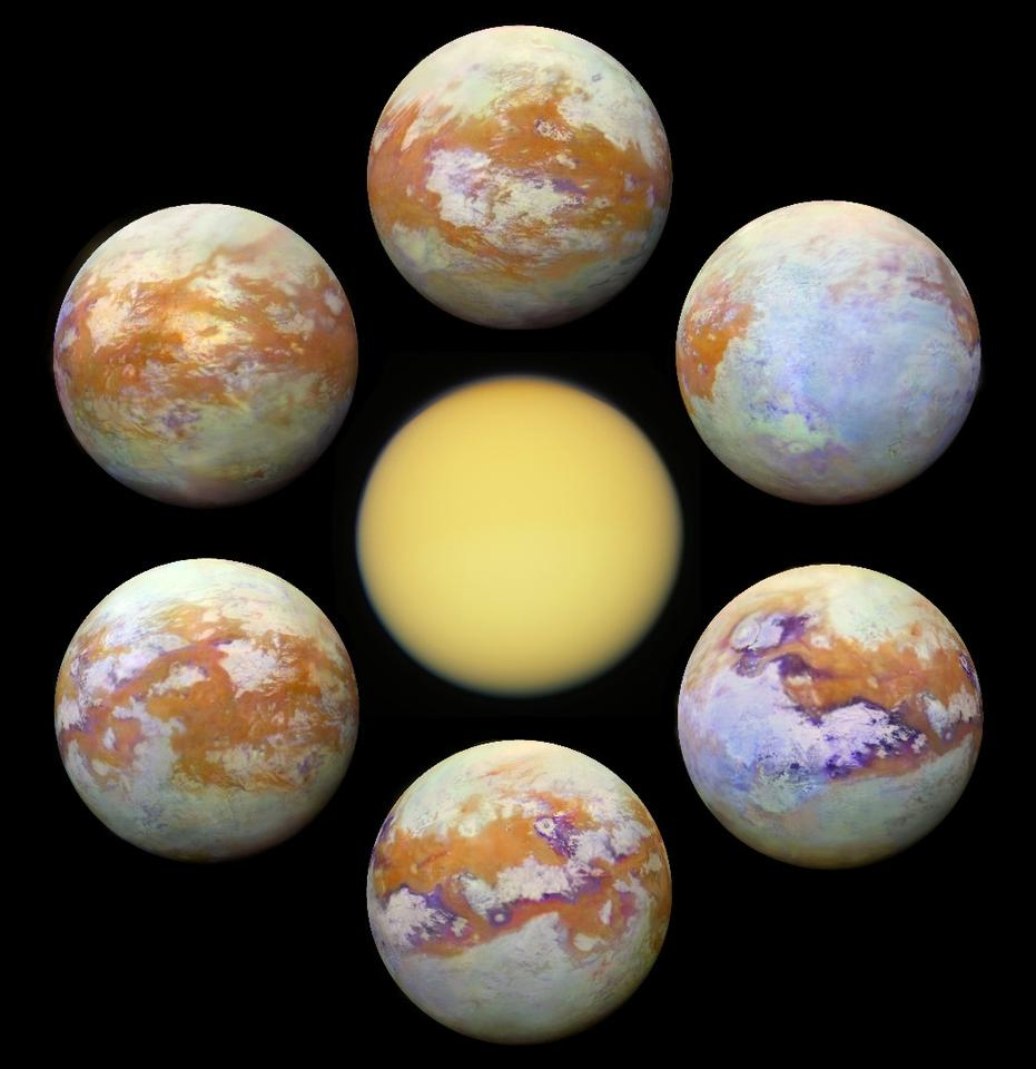 The six new infrared images are much clearer than Titan normally appears in the visible spectrum (center)