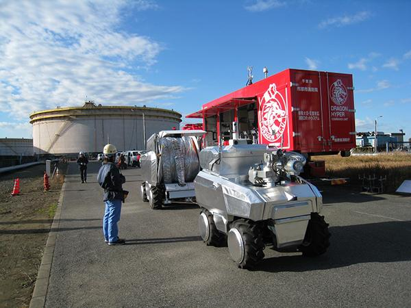 The Water Cannon Robot and Hose Extension Robot are transported to site in a dedicated vehicle