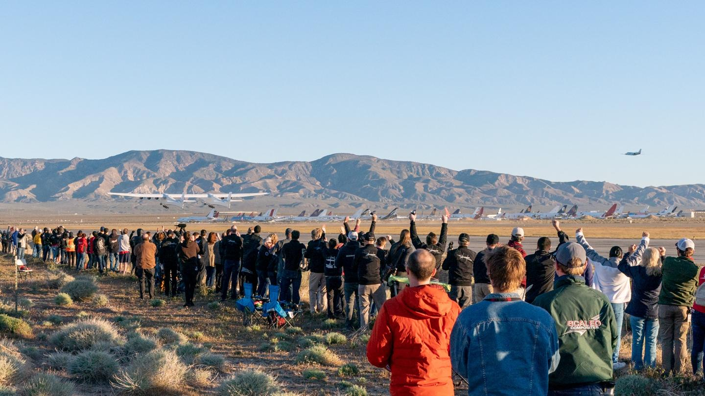 A crowd watching Stratolaunch's first flight