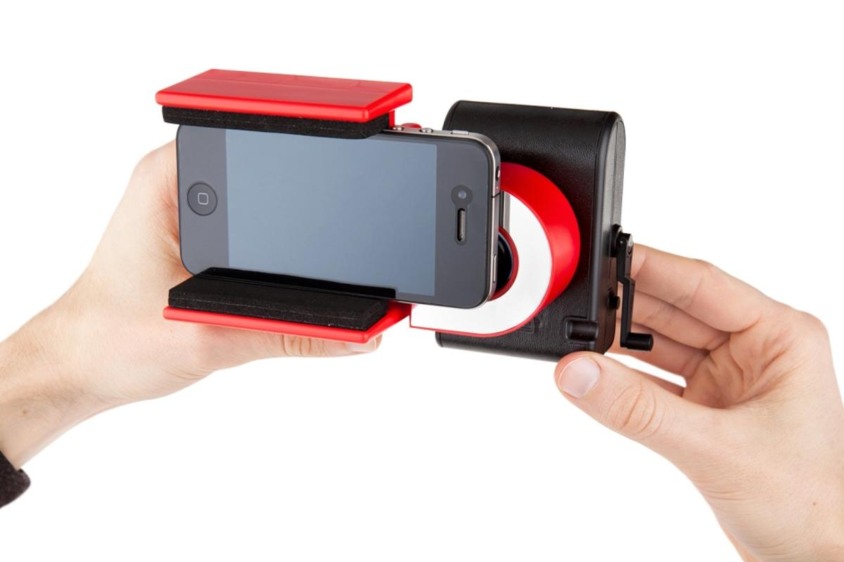 The LomoKino Smartphone Holder is a smartphone accessory for digitizing your LomoKino movies without need of an app