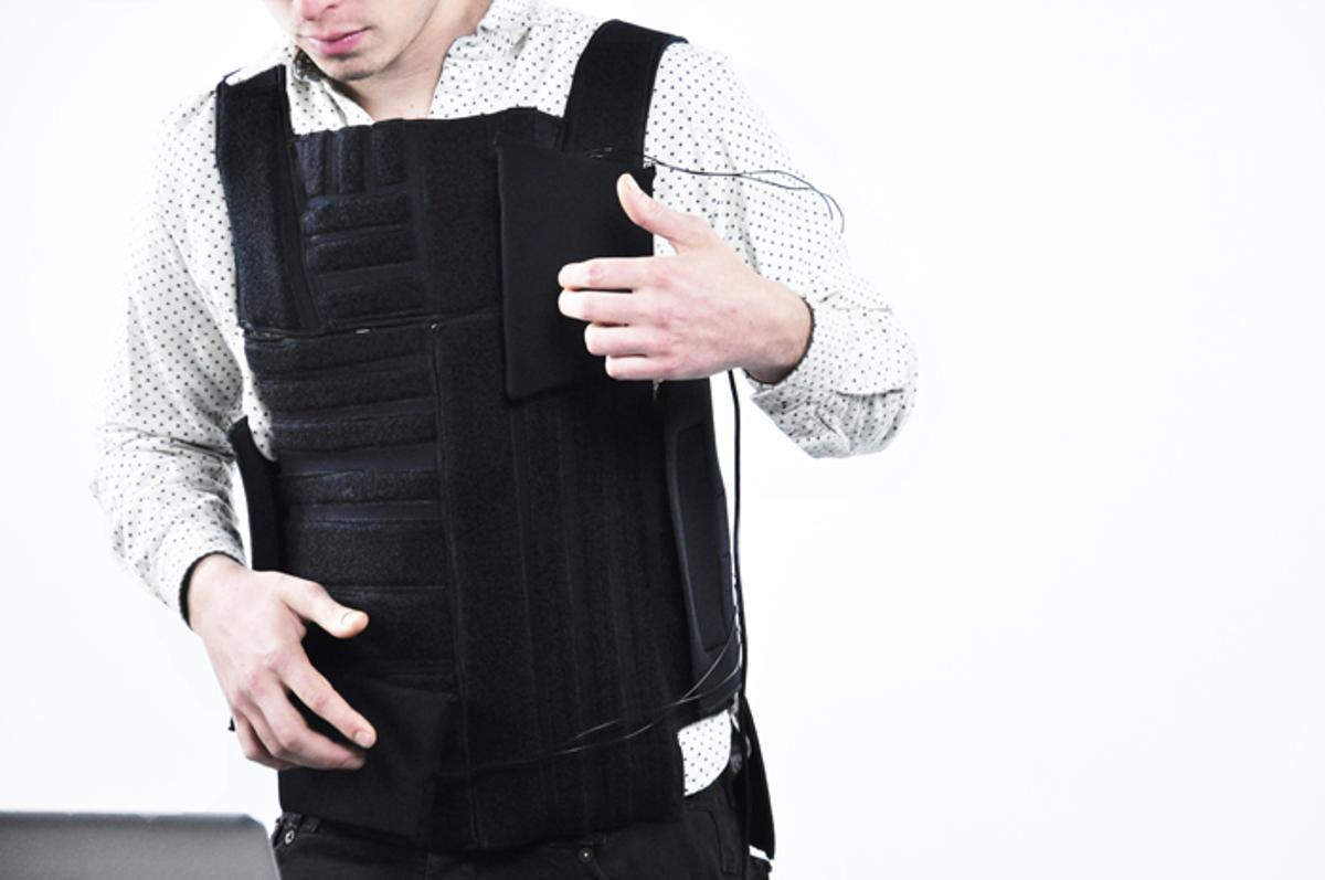 Designed by Wesley Chau, Drop The Beat is an electronic drum kit fashioned into a vest, with pads that can be rearranged and reprogrammed