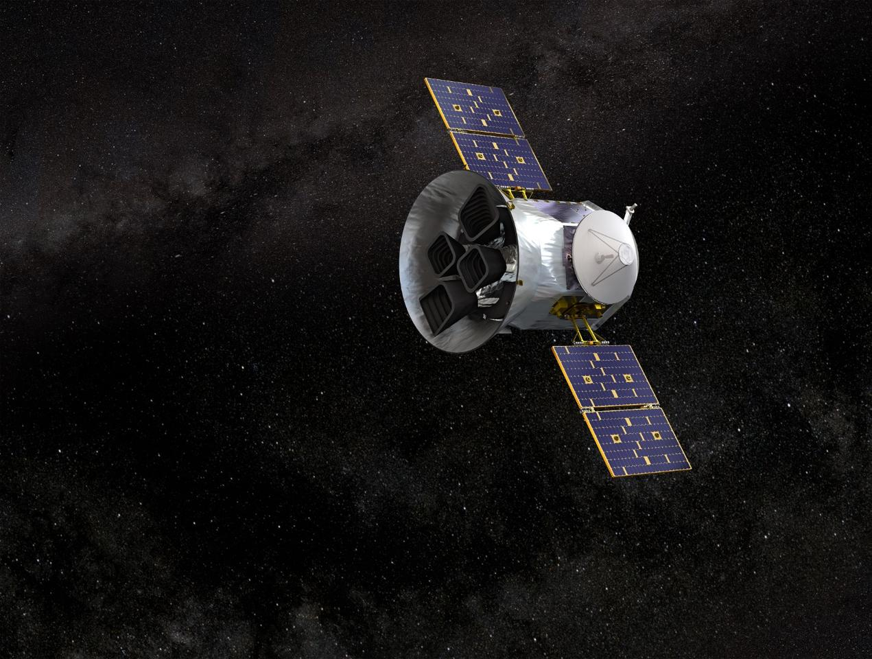 Artist concept of the TESS spacecraft which recently observed a supernova and the elemental content of its spectra