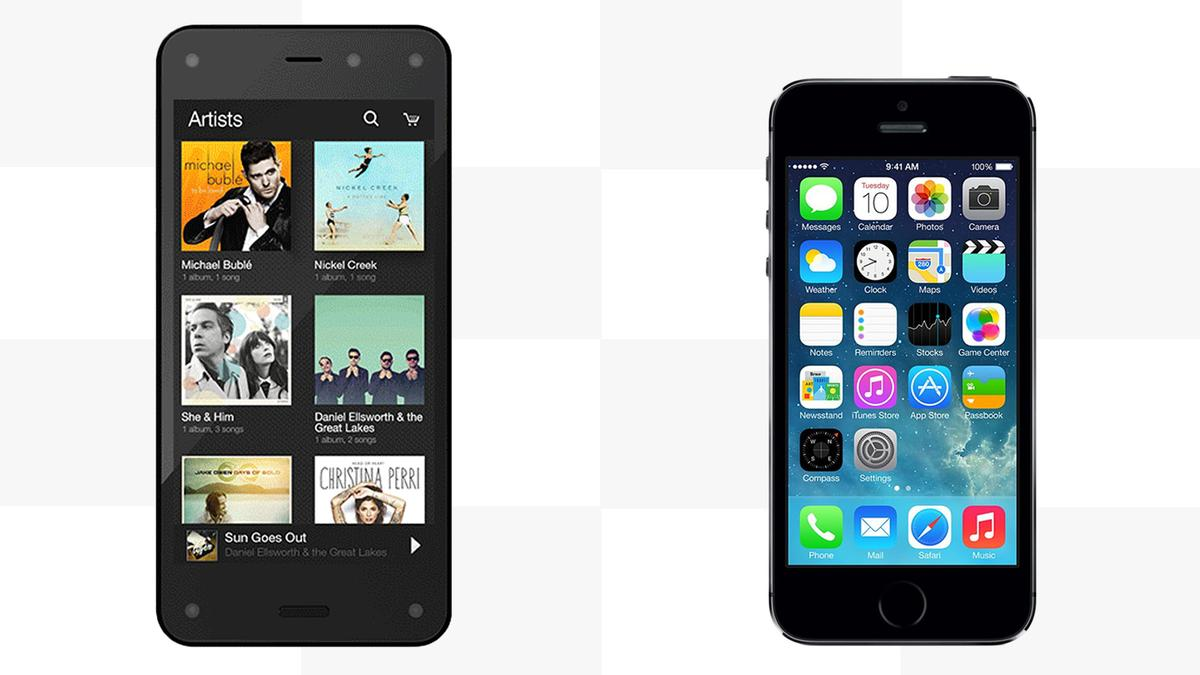 Gizmag compares the features and specs of the Amazon Fire Phone and the iPhone 5s