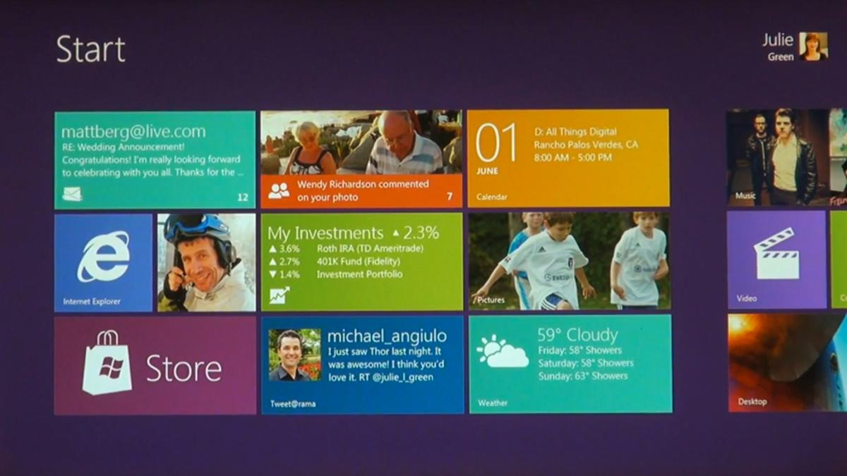The Windows 8 tile-based Start screen