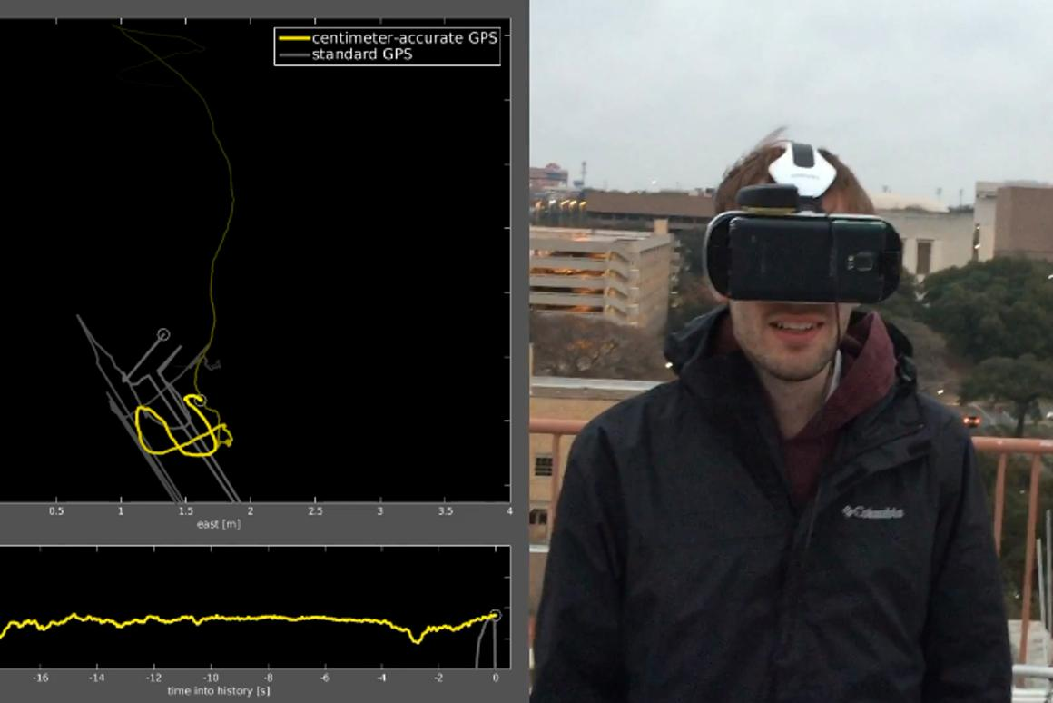 Measuring the improved accuracy of a GPS-enabled VR headset (Image: University of Texas)