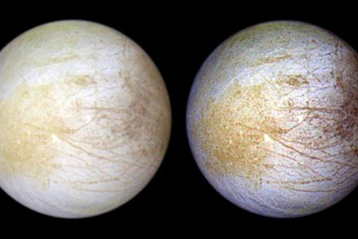 Color composite view combines violet, green, and infrared images of  Europa in natural color (left) and enhanced color designed to bring out subtle color differences in the surface (right)