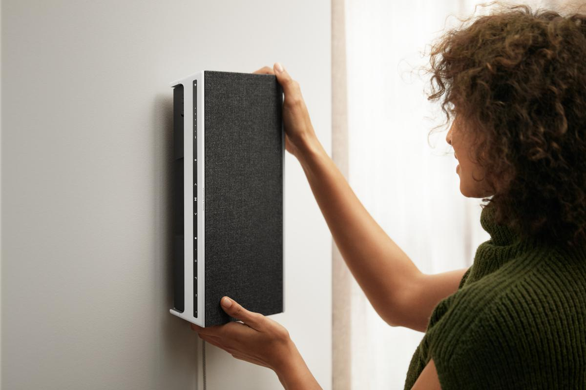 The Beosound Level will adopt a different sound profile when it's laid flat, stood upright and hung on a wall