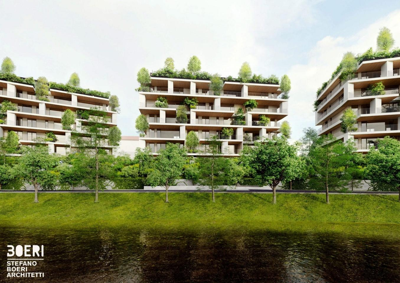 Taking the place of a defunct factory, theCà delle Alzaie project will include three buildings each standing seven stories tall