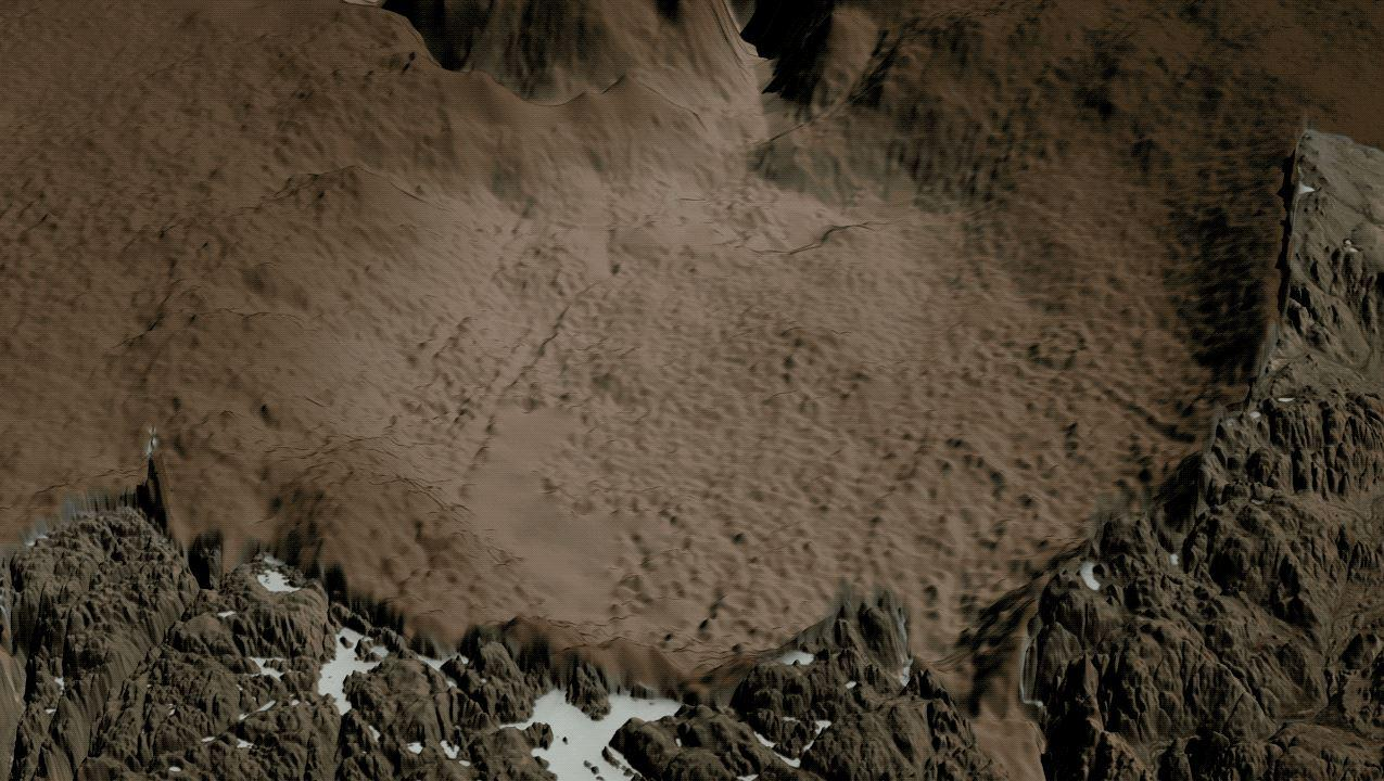 Hiawatha Crater with the ice cap digitally removed