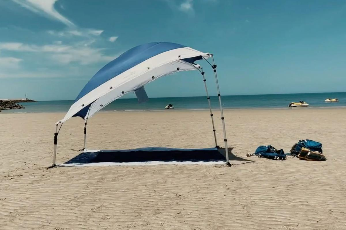 The Shadeeco kit, in its beach-blanket-and-sun-shade configuration