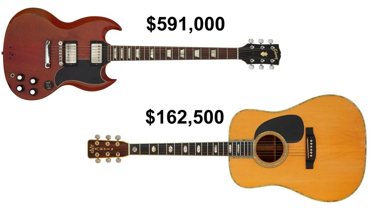 Duane Allman's Gibson SG and Graham Nash's Woodstock Martin D-45