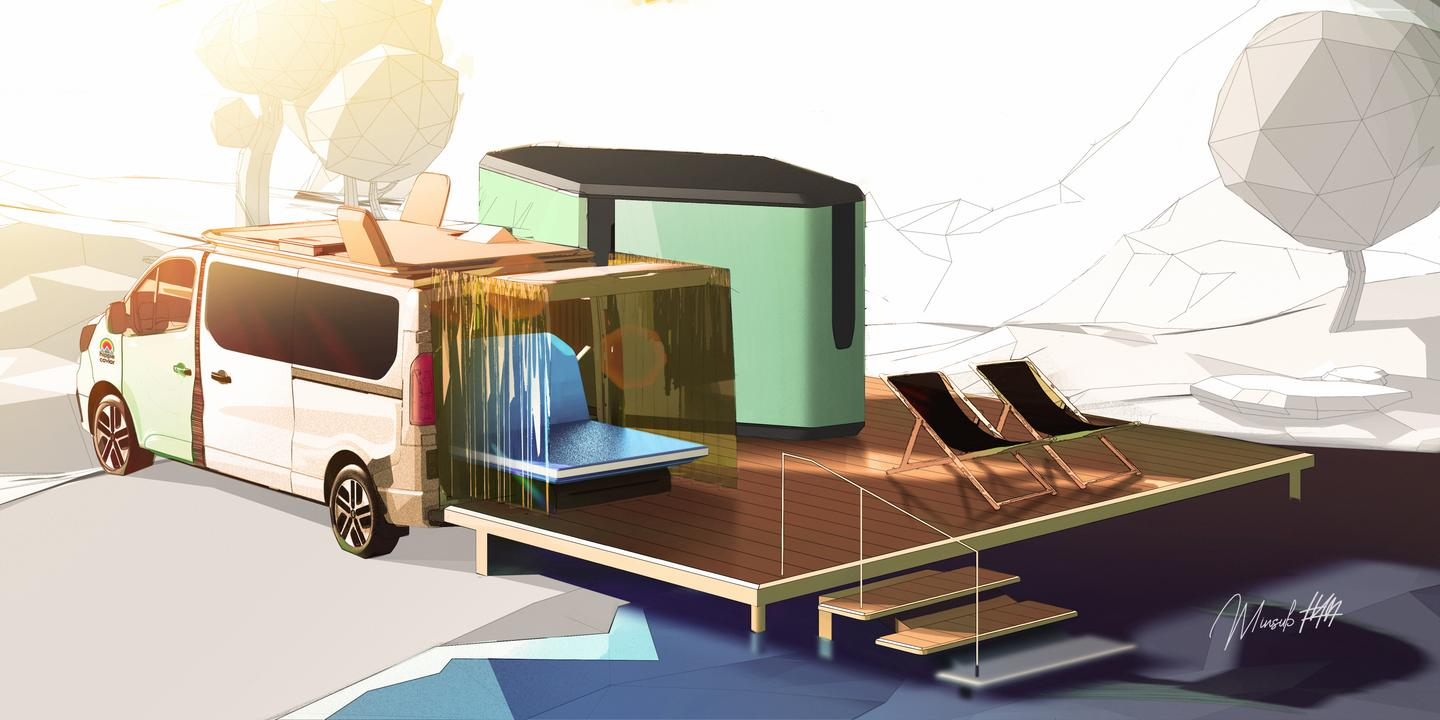Renault explores how camper converters and glamping companies can move outside the van or RV to create more complete, luxurious camping retreats