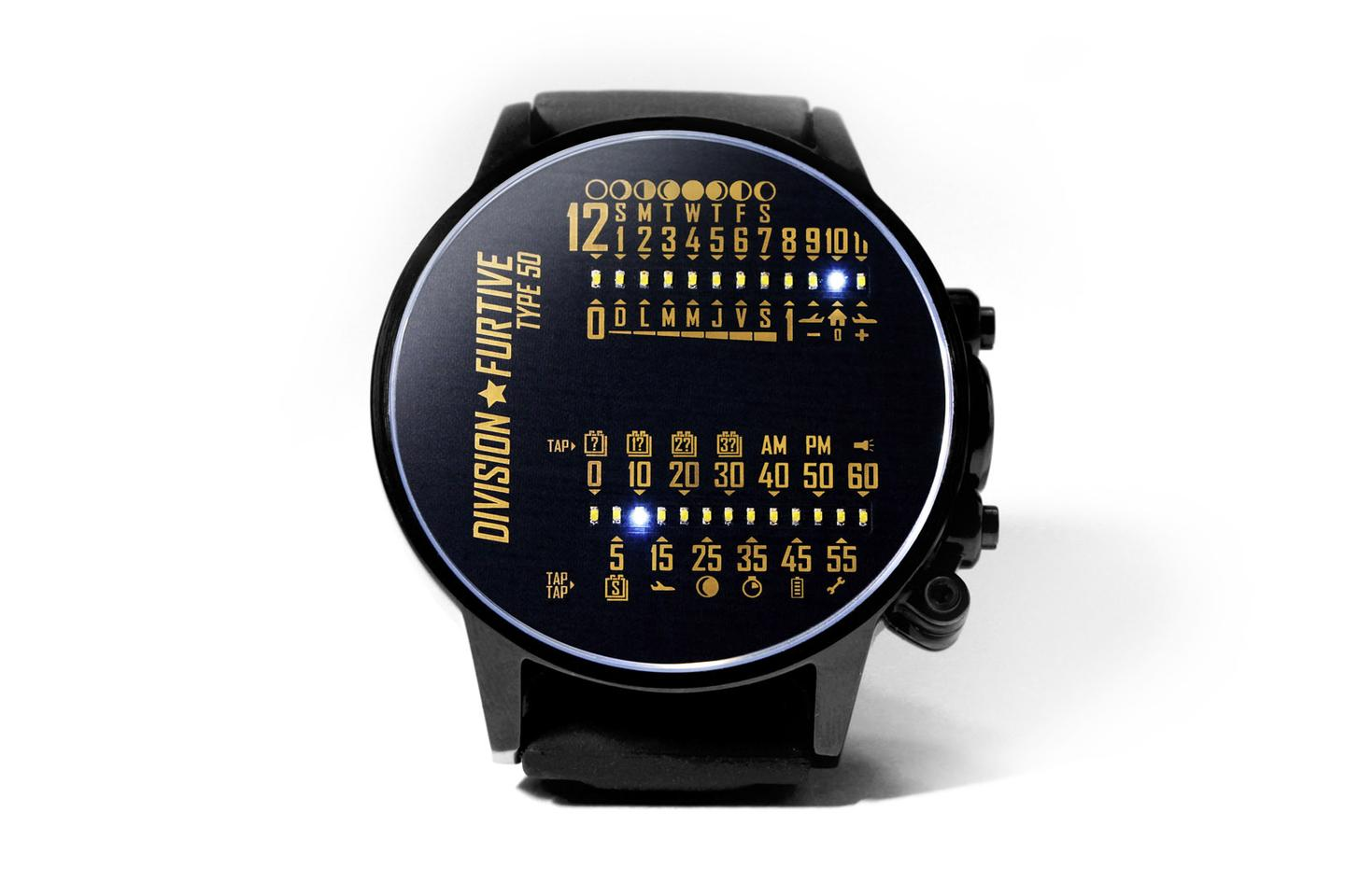 The front face of the Type 50 displays the time via two banks of white LEDs