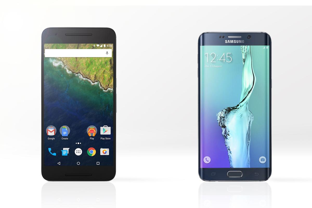 Which 5.7-inch Android phablet do you go with? Gizmag compares the Nexus 6P (left) and Samsung Galaxy S6 edge+