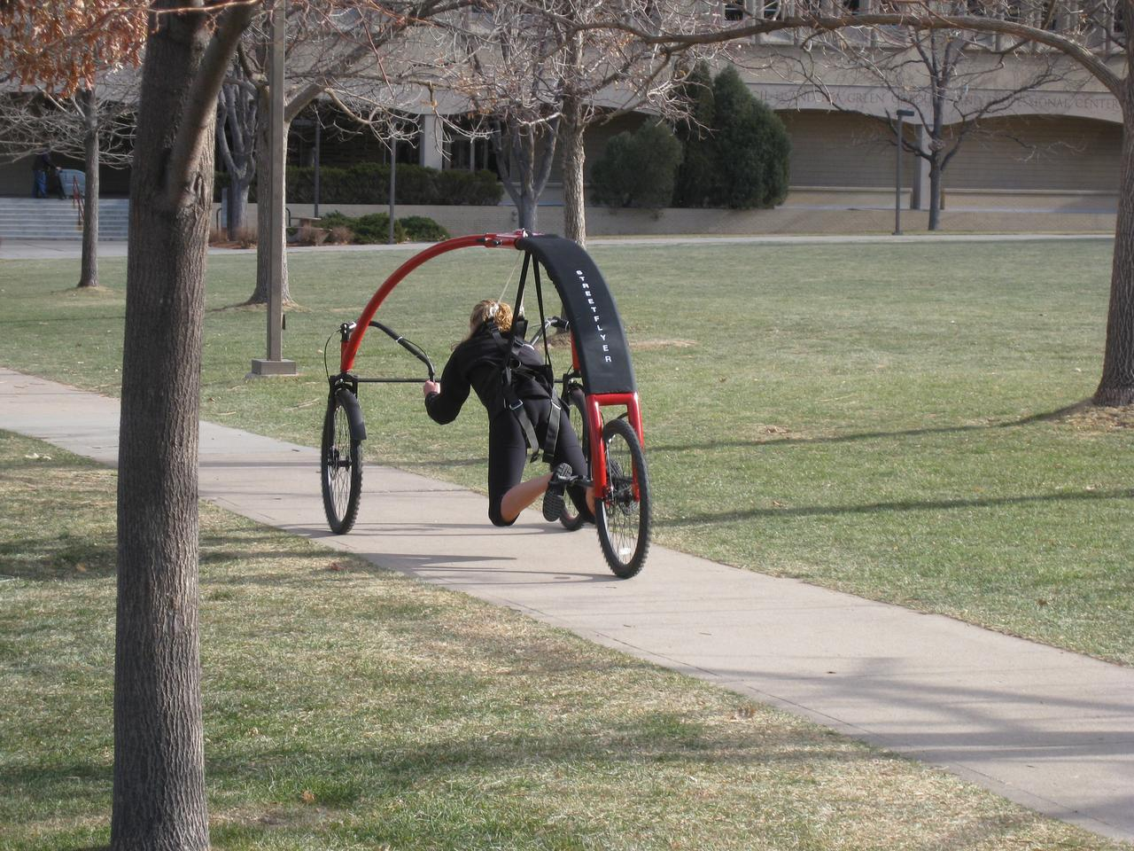 Flying through the park, harnessed into the StreetFlyer prototype built by students from Colorado's School of Mines Mechanical Engineering Department