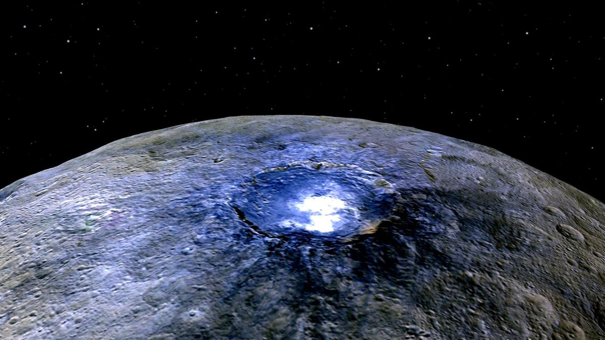 False-color image of Ceres' Occator crater displaying differences in surface composition