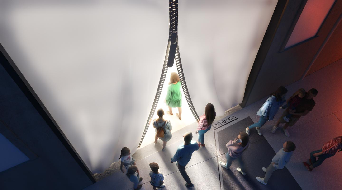 Visitors will enter the MAE Museum through a curtain-like entrance