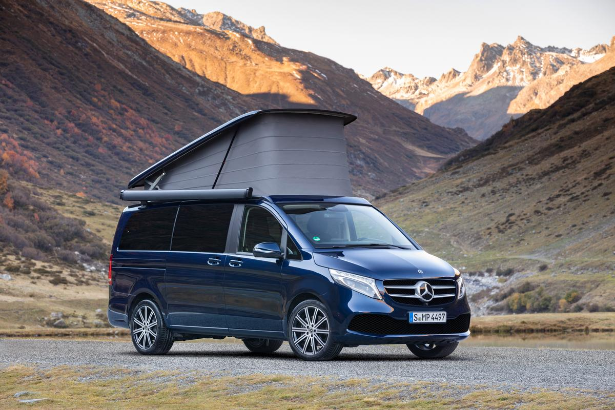 The Marco Polo is a full camper van with kitchen, folding bed and pop-up roof bed