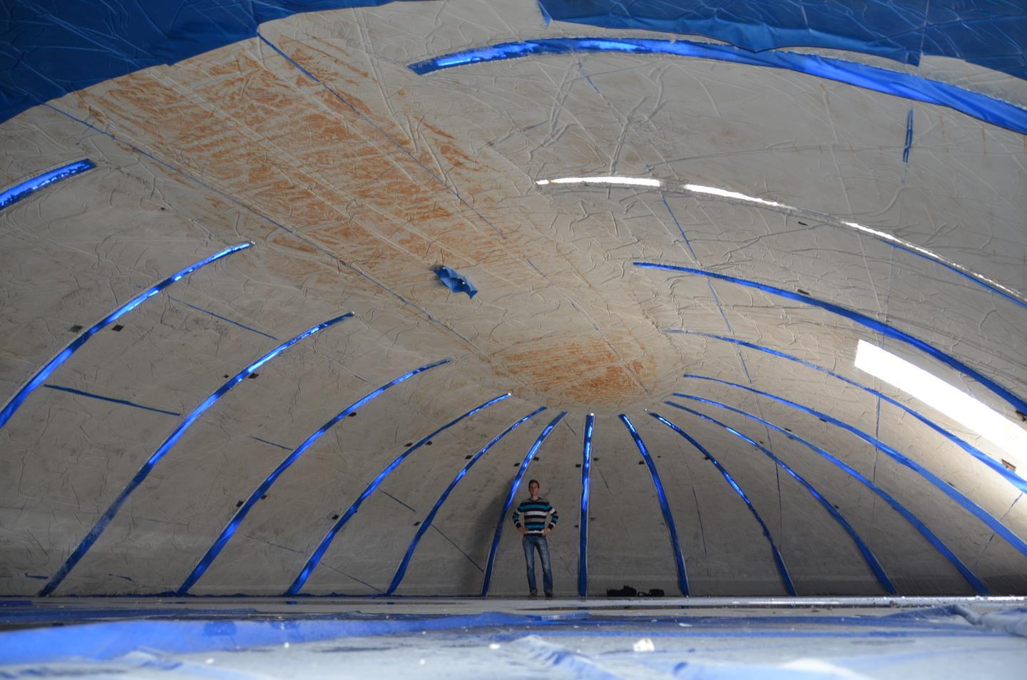 Inside a test dome built using the pneumatic wedge method