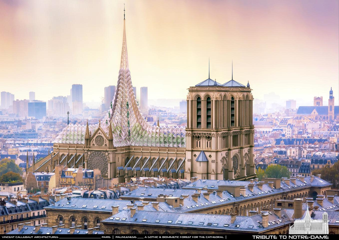 Following the devastating fire that recently damaged the Notre-Dame cathedral in Paris, local firm Vincent Callebaut Architectures has unveiled its vision for its restoration
