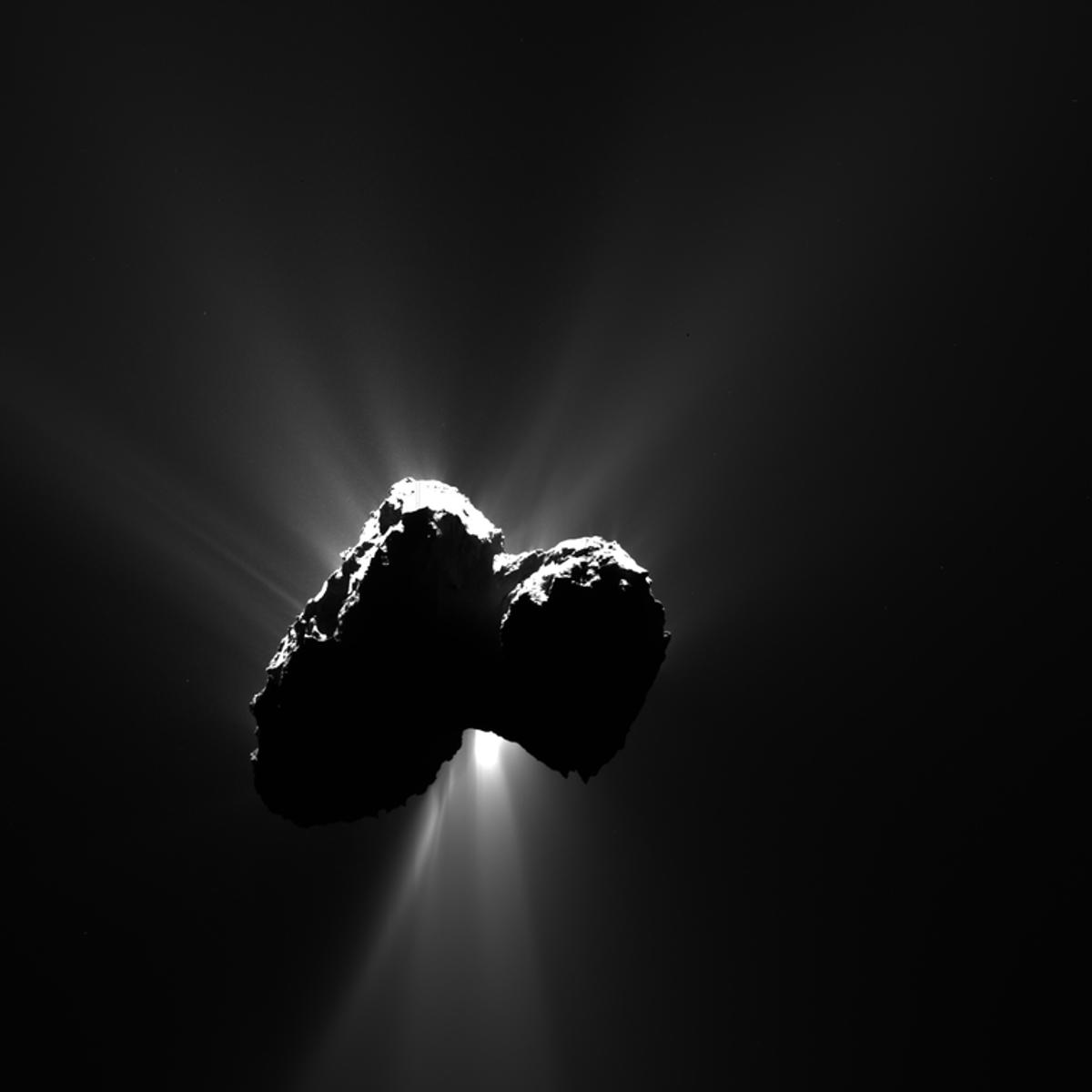 Image of Comet67P/Churyumov-Gerasimenko, the resting place of the Rosetta spacecraft and Philae lander, as seen in 2015 from a distance of 317 km (197 miles)