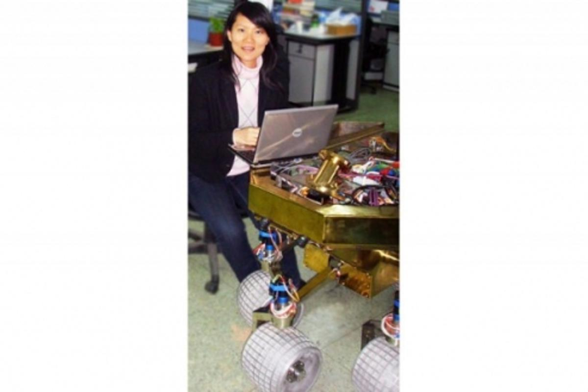 Dr Yang Gao testing the lunar rover