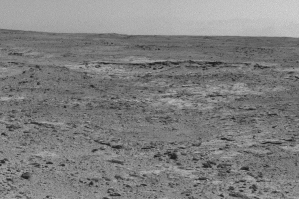 "View of ""Cooperstown"" taken by Curiosity's navigational camera (Image: NASA/JPL-Caltech)"