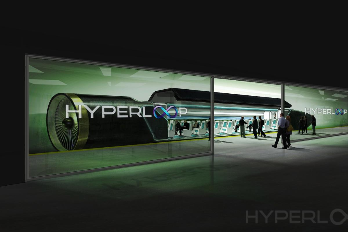 An artist's rendition of a Hyperloop passenger car
