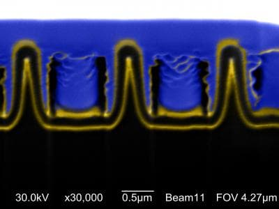 Researchers at Boston College have developed a high efficiency nanoscale thin solar cell based on the coaxial cable