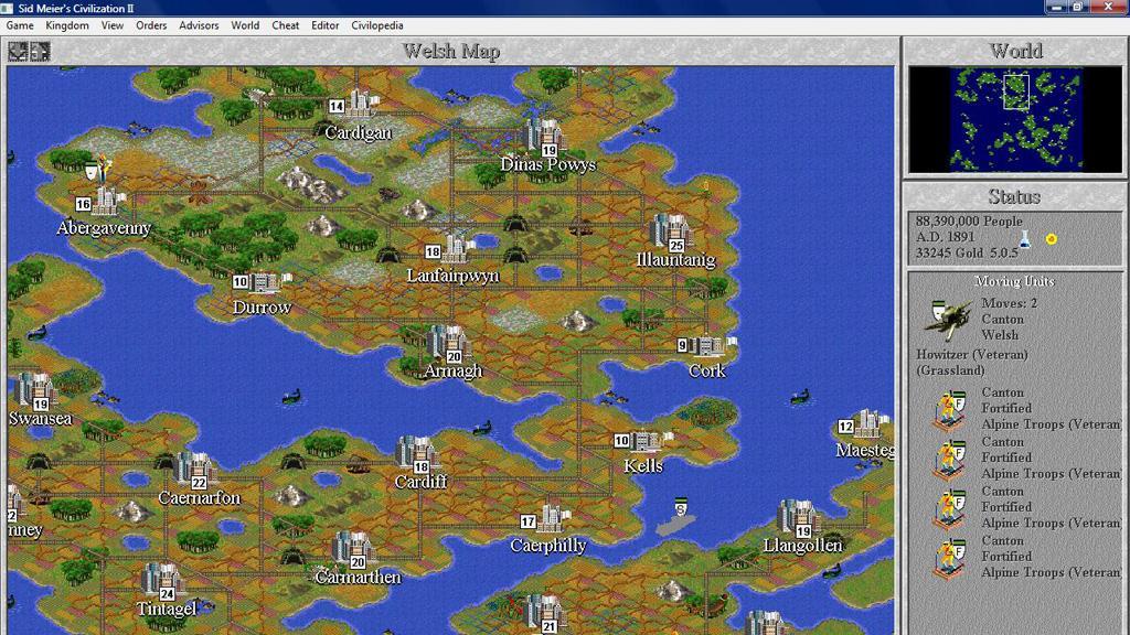 Screen shot of Sid Meier's strategy computer game, Civilization II