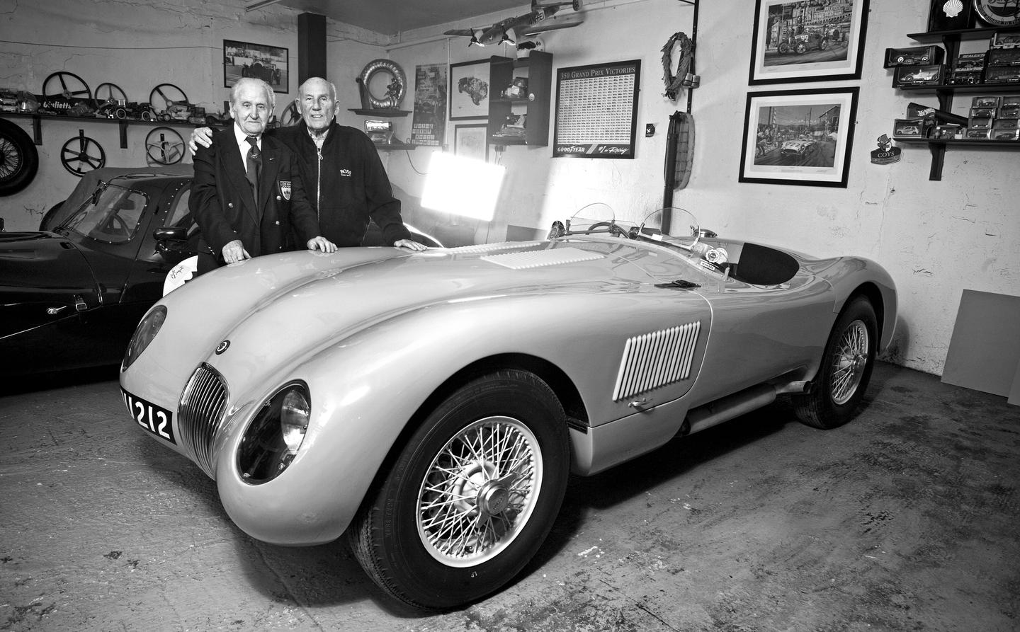 The first competitive outing for the disc-brake was on a Jaguar C-type in the 1952 Mille Miglia with Sir Stirling Moss driving and Norman Dewis, then Jaguar's chief development engineer, navigating