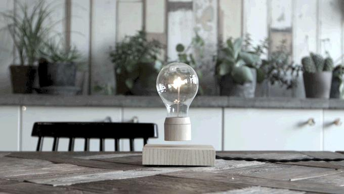 The Flyte lightbulb uses magnetic levitation and induction charging to hover wirelessly above its base