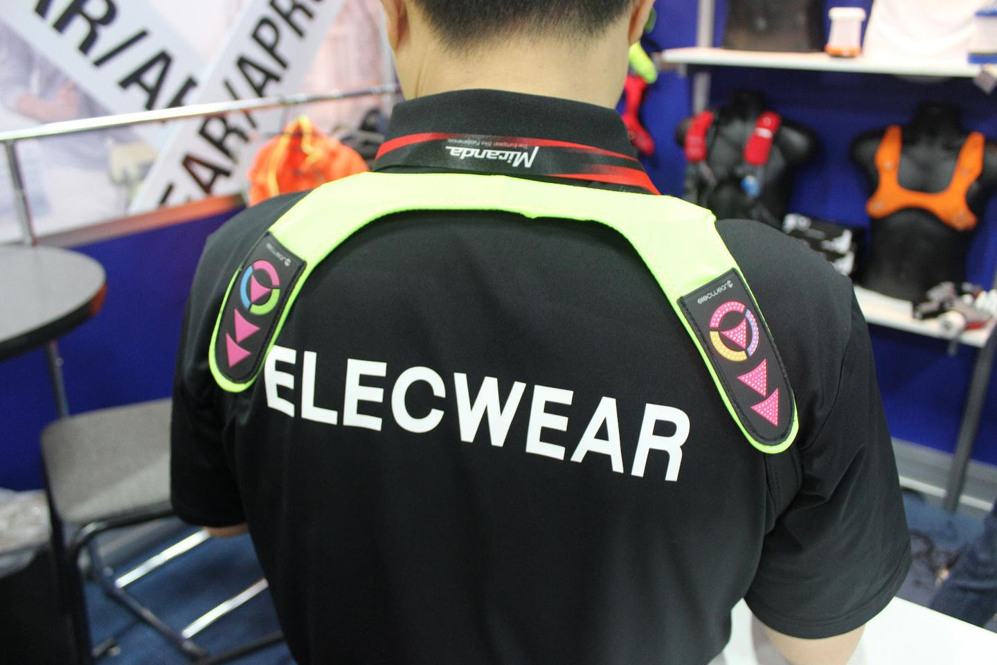 The Elecwear cycling vest, on display at Interbike 2015