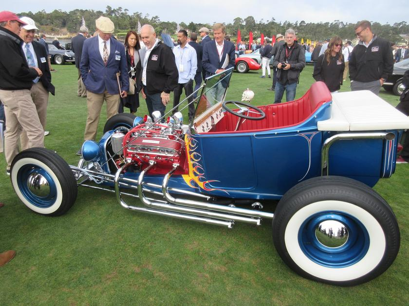"The Norm Grabowski ""Kookie Kar"" 1922 Ford Roadster Pickup took out Class R that was framed for historic Hot Rod Cover cars."