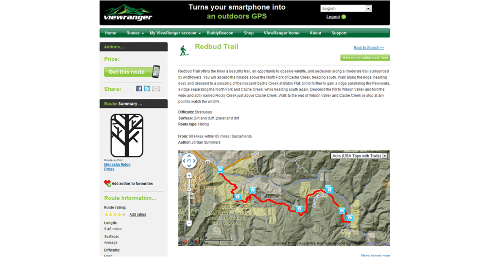 ViewRanger's website lets you design and download routes