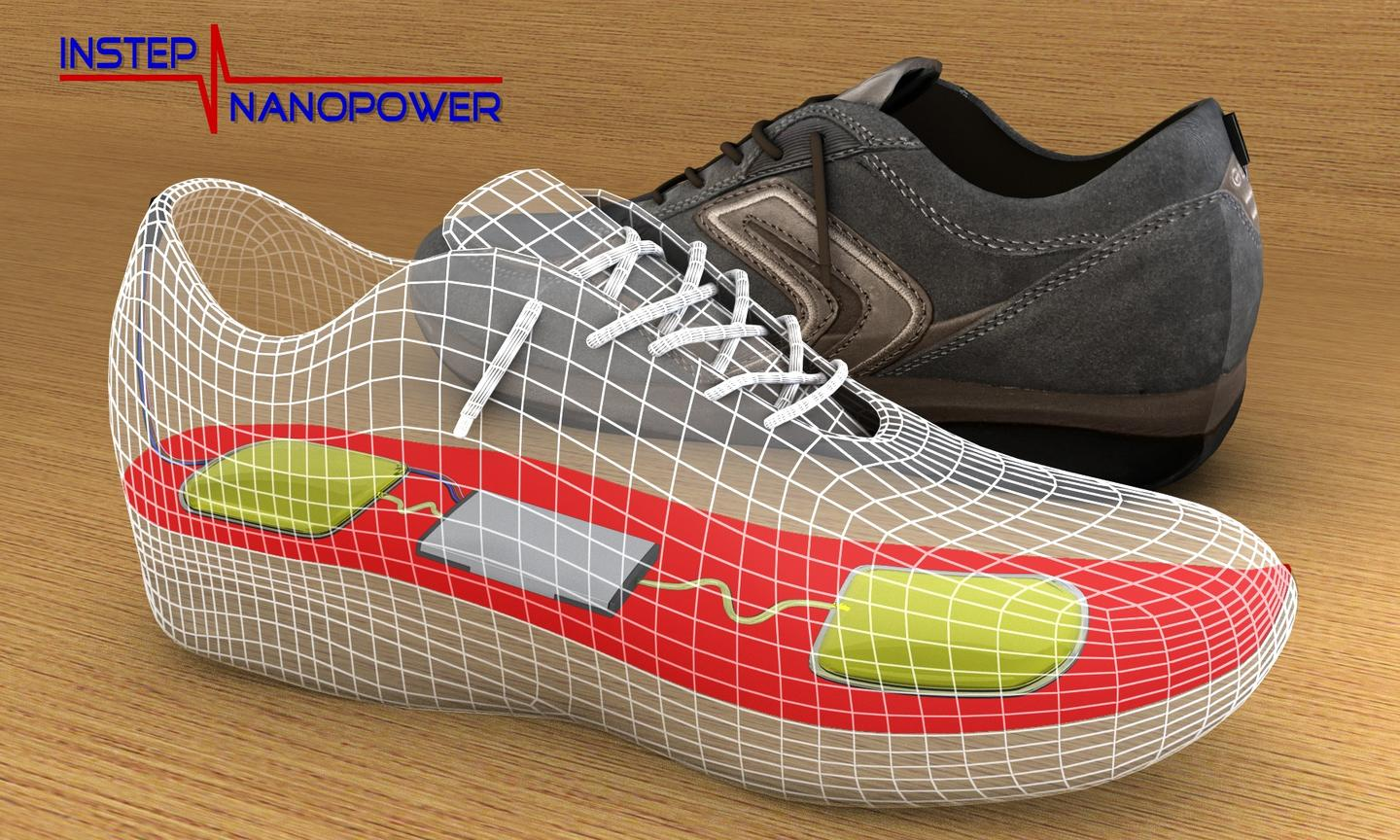A new in-shoe device is designed to harvest the energy that is created by walking, and store it for use in mobile electronic devices
