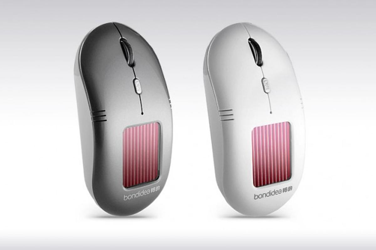 The N91 solar optical mouse from Bondidea features a built-in lithium battery charged by a PV panel on top of the peripheral, and an AAA-sized alkaline battery as backup