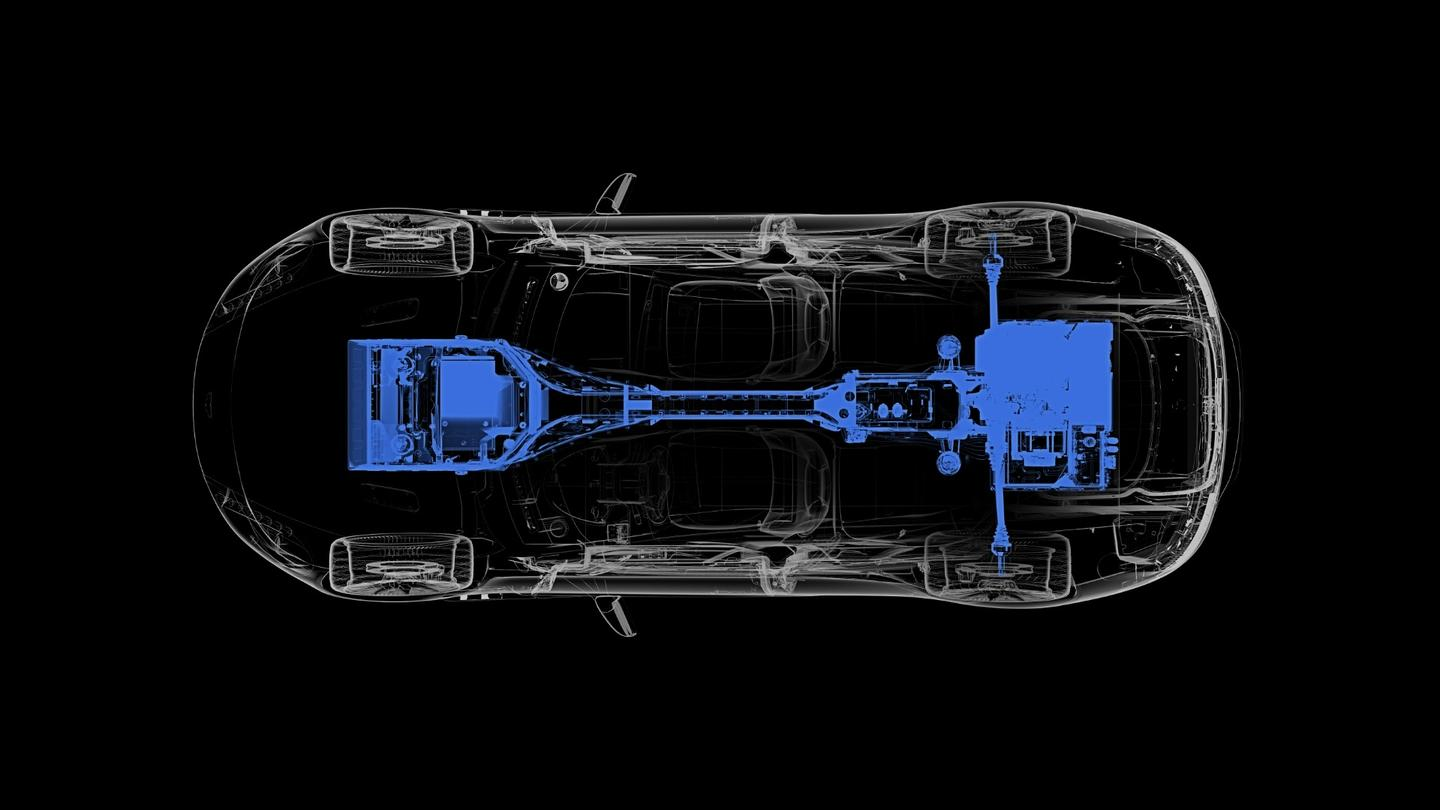 Diagram of the electric powertrain of the upcoming Rapide E