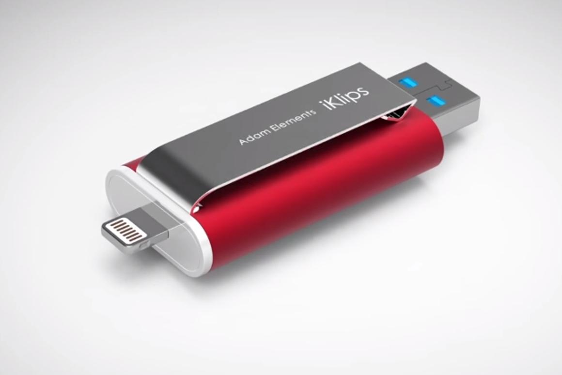 A Taiwanese startup is turning to Indiegogo to fund iKlips, a dual flash drive for iOS devices with capacities up to 128 GB