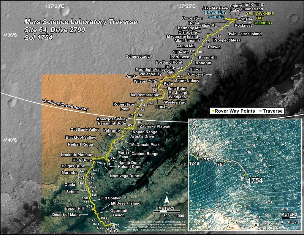 The map of Curiosity's journey over the last five years