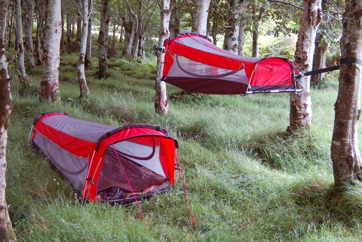 One shelter, two ways to camp