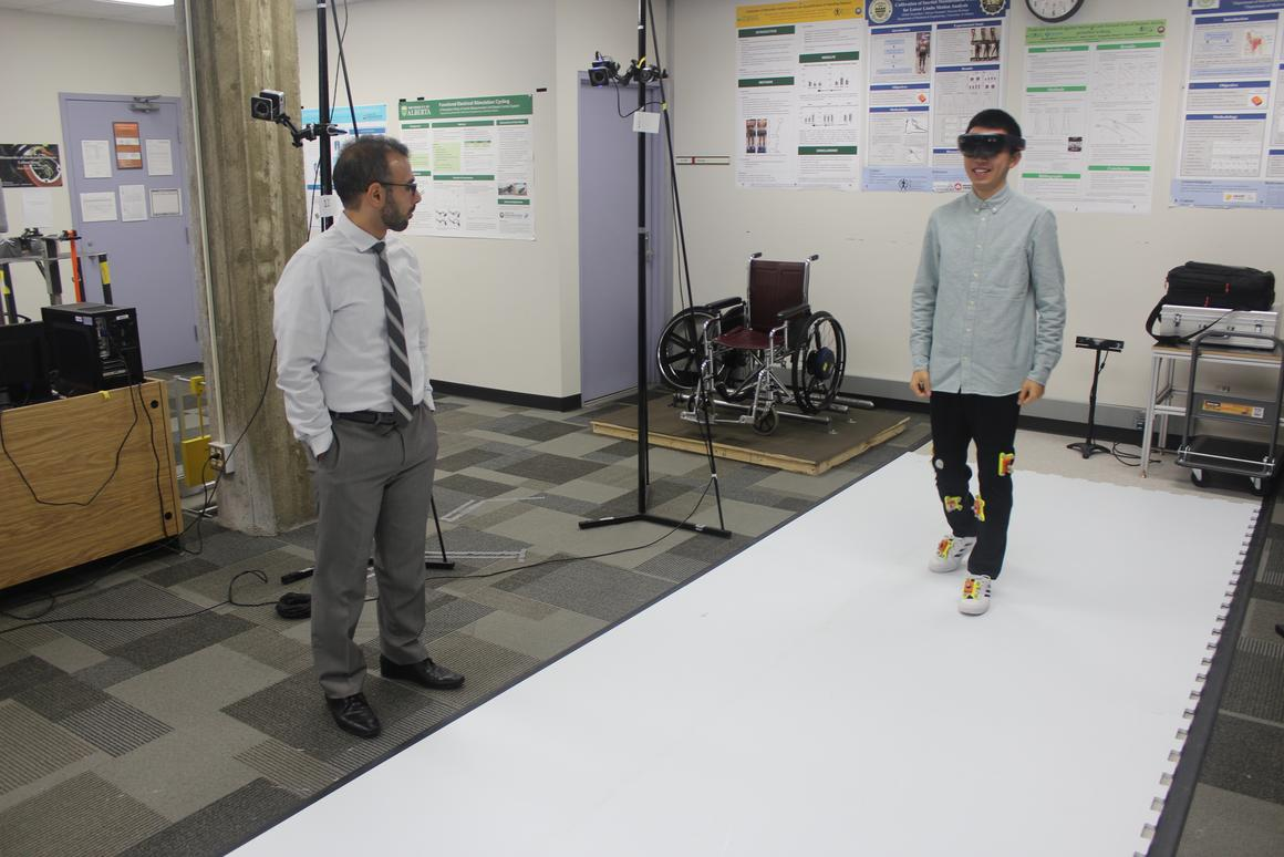 Asst. Prof. Hossein Rouhani (left) and international undergrad student Michael Xiu (right), in the University of Alberta's Neuromuscular Control and Biomechanics Laboratory