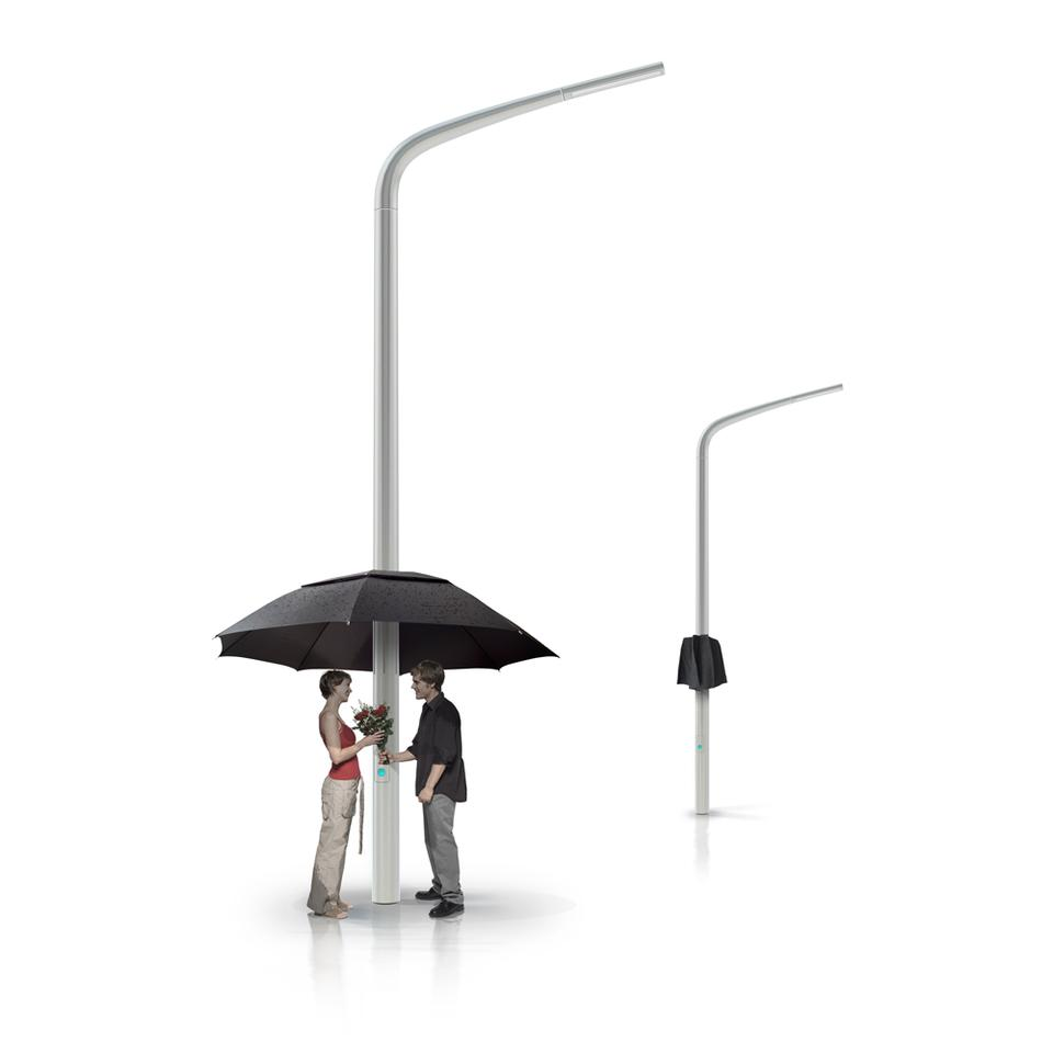 In addition to the rain sensor, there's also a 360 degree motion sensor on the fiberglass street lamp which detects whether anyone is using the Lampbrella