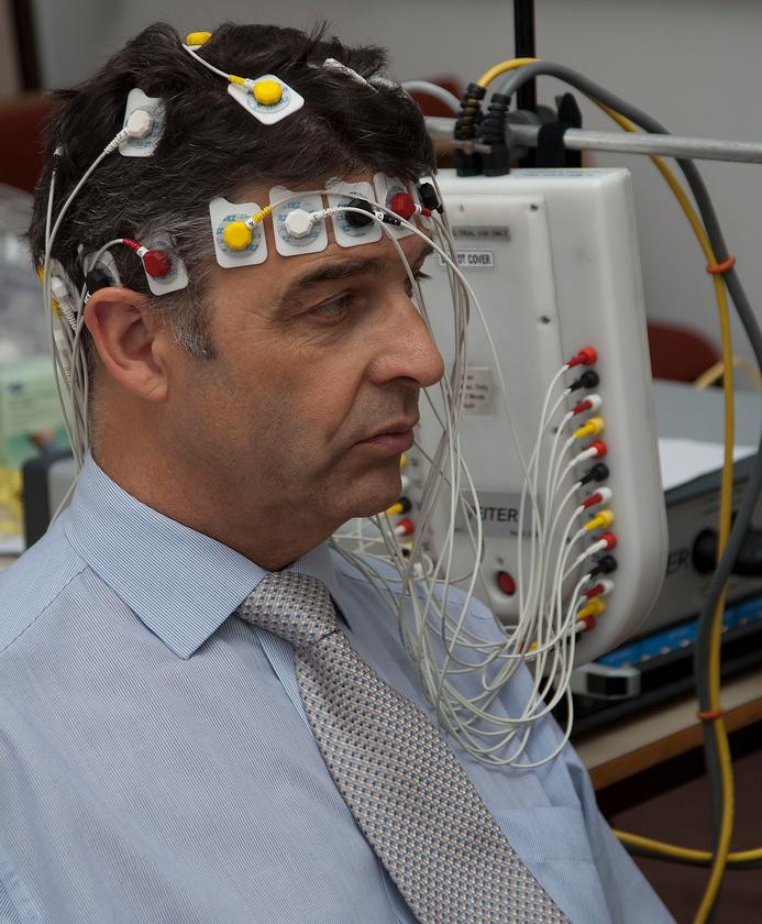 fEITER being used on Professor Hugh McCann, one of the Principle Investigators for the trial